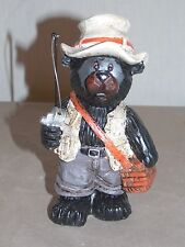 New Adorable Black Bear Fishing Statue Figure Decoration Wildlife Collectible 5""