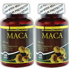 2 x WooHoo Natural® Maca 500 mg 120 Caps, Energizing Herb Rich in Saponins