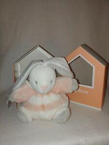 New Kaloo Peach & Cream Gray Chubby Rabbit Plush Lovey Small