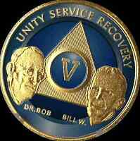 5 Year Founders AA Medallion Alcoholics Anonymous Chip Blue Gold Plated Coin
