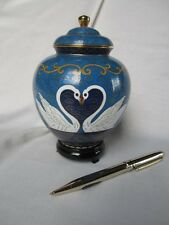 Solid Brass Cloisonne Small Cremation Urn With White Swan Pair Design