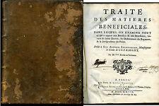 livre ancien de Droit, XVIII° siècle, Traité des Matières Bénéficiales ,1723