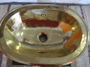 MOROCCAN SMALL OVAL COPPER HANDMADE BATHROOM SINK/BASIN