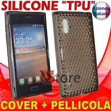 Cover Custodia Per LG L5 Optimus E610 Nero Gel Silicone TPU + Pellicola Display