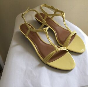 NEW Talbots Yellow Patent Leather Braided T-Strap Wedge Sandal Shoes Sz 8.5