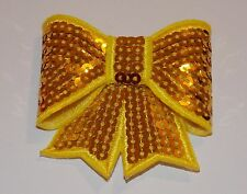Yellow Gold 3D sequin bow hotfix iron on Motif patch Lace xmas costume Applique