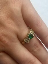 14K Effy BH Yellow Gold Colombian Natural Emerald Diamond Ladies Ring Size 7
