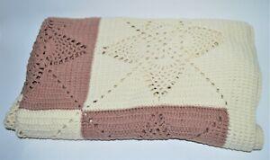 """Handmade Crochet Afghan Throw Brown Beige Square Star Pattern 83""""  x 40"""" Blanket"""
