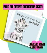 Tiger birthday card , personalised , happy birthday , any age son daughter feath