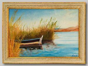 Dalyan Boat - Original Oil Painting Framed & Signed Delta Reeds Fishing Turkey