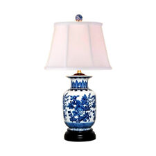 """Chinese Blue and White Porcelain Vase Floral Motif Table Lamp 22.5"""""""