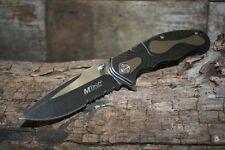 MTech Serrated Folding Pocket Knife Frame Lock Black New MT-986S