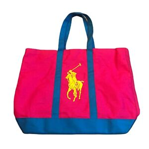 Ralph Lauren Pink Blue Large Logo Beach Bag Perfume Promotion Bag
