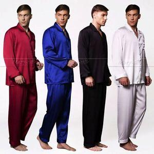 Mens Silk Satin Pajamas Set pajamas for men big and tall sleepwear__XMAS Gift