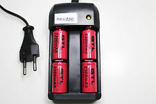 CHARGEUR RS08 + 4 BATTERIE PILE 16340 CR123 2300mAh RECHARGEABLE 3.7V ION ACCU