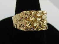 MENS 14 KT GOLD PLATED DESIGNER NUGGET STYLE RINGS, 3 TYPES SIZES 5-13