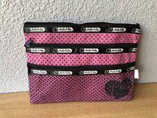 Pink Black Cute Hello Kitty 3 Pocket/Pouch Purse Travel Makeup Pencil Zip Bag