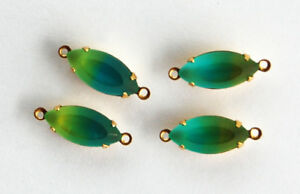 Vintage 4 Green & Blue Glass Marquise Navette Connector Bead • 15x7mm • Frosted