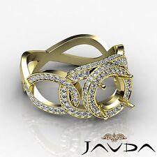 18k Yellow Gold 1.3 Carat Halo Round Diamond Engagement Semi Mount Designer Ring