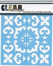 "Clear Scraps 6"" x 6"" stencil ""Mexican Tile"" for airbrush, decorative tole paint"
