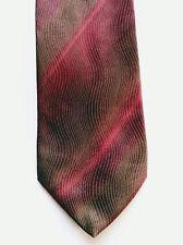 Profilo Studio Mens Neck tie Red Gold Brown stripes100% Italy Silk made Canada