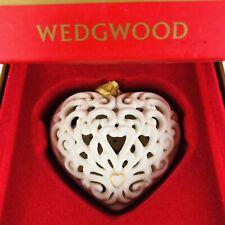 Vtg Wedgwood Christmas 3D Ornament Porcelain Pierced Heart Original Box Pristine