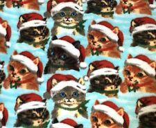 Christmas Cats Santa Hats Fleece Fabric Tabby Calico Holiday Kittens Cute Yard