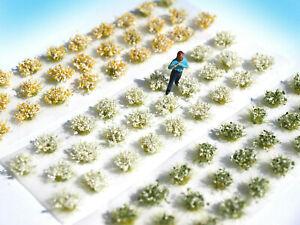 Miniature Flower tufts bushes white mix HO O scale model 1:87 dollhouse diorama