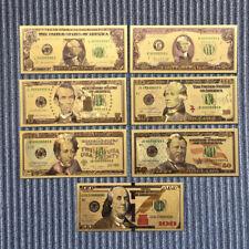 7Pcs/set US Gold Foil Paper Money Coin Currency Commemorative Banknote Art Craft