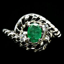 NATURAL GREEN EMERALD & WHITE CZ RING 925 STERLING SILVER SIZE8.5