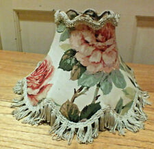 Vintage Lamp Shade Traditional Floral Flowers Pink Roses Fabric fringed trim