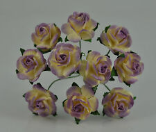 """Mulberry Paper Flower Tiny Rose Picotee creamy Violet 5/8"""" 15mm miniature"""