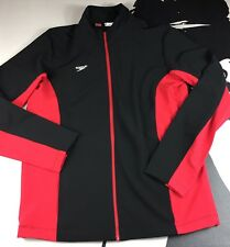 New Speedo Mens Performance Warm Up Full Zip Jacket, Red Size Small MSRP $78