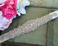 Jeweled Bridal Sash Wedding Dress Party Prom Belt Crystal Rhinestone Applique #5