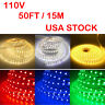 50ft/15m SMD 5050 Flexible Waterproof LED Neon Rope Light Strip Party Decor USA