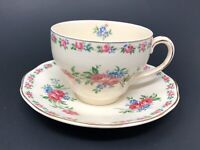 Vintage Wedgwood Cream Pink Harmony Rose Cup & Saucer Set Made in England