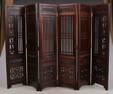 Collectibles Old Decorated Handwork Wood Hollow Out Carved Flower Screen Model w