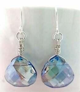 Blue Crystal Teardrop Silver Earrings USA HANDMADE