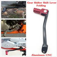 Classic 1Pcs Black+Red Motorcycle Aluminum CNC Folding Gear Shifter Shift Lever