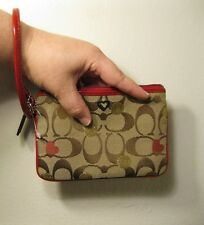 Authentic Coach Poppy wristlet/wallet brown/tan, red lining-NWOT NEVER USED