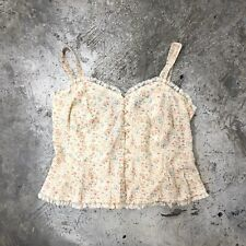 Vintage 30s Floral Lace Top Pastel Yellow Pearl Buttons Straps M