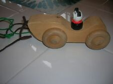 1960'S WOODEN CAR PULL TOY HANDMADE VINTAGE