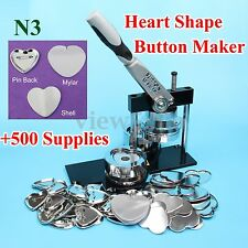 Heart Shape N3 Badge Button Maker Machine+500 Sets Metal Pinback Supplies