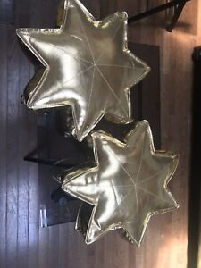 Land Of Nod Two Gold Vegan Faux Leather Star Pillows