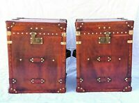 Pair of Finest English Leather Antique Inspired Side Table Trunk & Chests ZA02