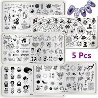 Harunouta 5Pcs Nail Stamping Plates Flower Star Moon Image Printing Template Kit