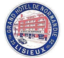 Authentic Vintage Luggage Label ~ GRAND HOTEL DE NORMANDIE ~ Lisieux, France