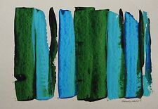 ORIGINAL Abstract Painting JMW art John Williams Expressionism GREEN BLUE