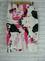 BY JOHNNY Skirt Sz 10 White, Pink, Black print exposed zip