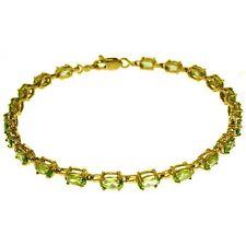 Genuine Oval Peridot Gemstones Tennis Line Bracelet 14K Yellow, White, Rose Gold